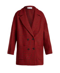 Red Valentino | Double-Breasted Hounds-Tooth Wool-Blend Coat
