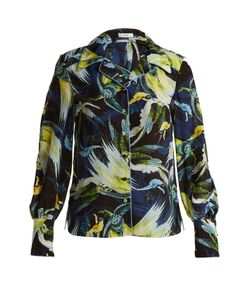Erdem | Fae Night Bird-Print Silk Crepe De Chine Shirt