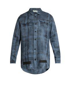 OFF-WHITE | Mirror Mirror-Print Checked Linen Shirt