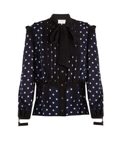 Maison Margiela | Polka-Dot Print And Jacquard-Trimmed Silk Blouse