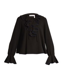 See By Chloe | Ruffled Stretch-Crepe Top