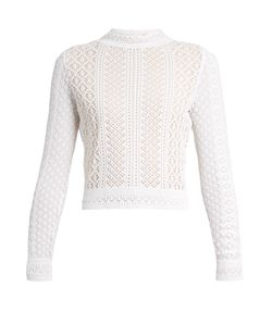 Oscar de la Renta | Long-Sleeved Knitted-Lace Top
