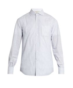 Brunello Cucinelli | French-Collar Striped-Cotton Shirt
