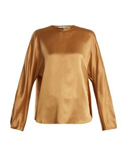 Vince | Round-Neck Long-Sleeved Satin Top