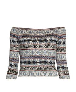 Alexander McQueen | Fair Isle-Jacquard Off-The-Shoulder Top