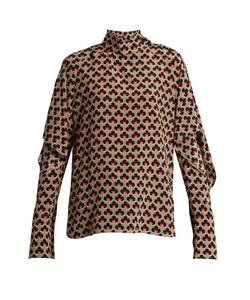 Marni | Portrait-Print Ruffled-Sleeve Silk Blouse