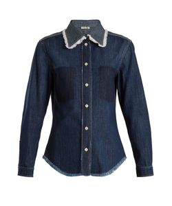Miu Miu   Contrasting-Panel Cotton Shirt