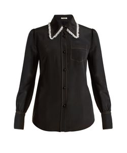Miu Miu | Lace-Trimmed Silk Crepe De Chine Shirt