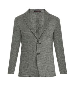 The GIGI | Angie Patch-Pocket Wool Hounds-Tooth Blazer