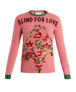 Gucci | -Embroidered Ribbed-Knit Wool Sweater