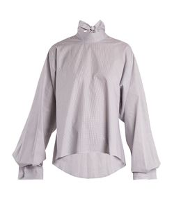 MM6 by Maison Margiela | Tie-Neck Micro-Checked Cotton Blouse