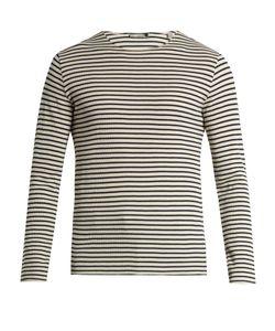Vince   Striped Waffle-Knit Cotton T-Shirt