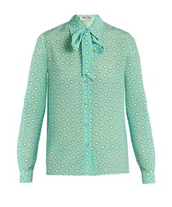 Miu Miu | Heart-Print Tie-Neck Silk Blouse