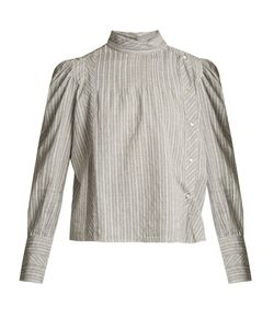 Isabel Marant Étoile | Oak High-Neck Striped Cotton Shirt