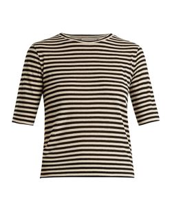 Vince | Striped Silk-Blend Cropped T-Shirt