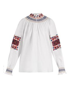 Tibi | Cora Embroidered Cotton Top