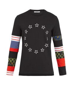 Givenchy | Contrast-Panel Long-Sleeved Cotton-Jersey Top