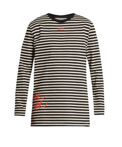 OFF-WHITE | Mirror Striped Long Sleeved Cotton-Jersey T-Shirt