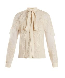 Elie Saab | Tie-Neck Lace And Tulle Blouse