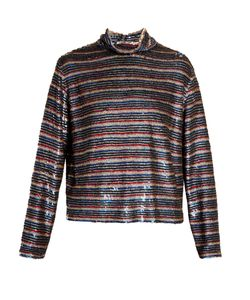 Ashish | Roll-Neck Striped Sequin-Embellished Silk Top