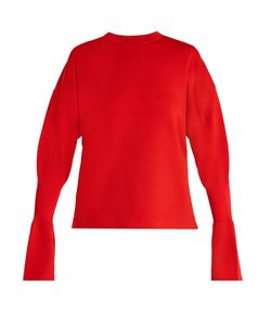 Tibi | Fluted-Cuff Wool Sweater