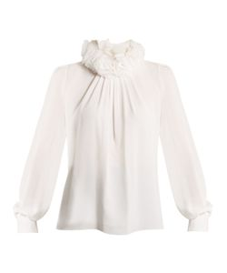 Andrew Gn   Ruffled-Neck Silk-Blend Georgette Blouse