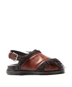 Marni | Faux-Fur Lined Leather Sandals