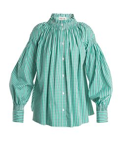 Teija | Smocked-Neck Gingham Shirt