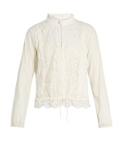 See By Chloe | High-Neck Lace-Insert Blouse
