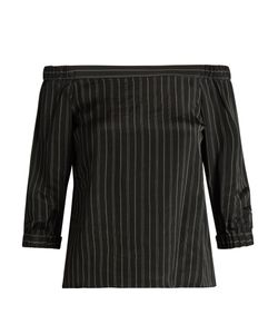 Tibi | Striped Off-The-Shoulder Satin Top