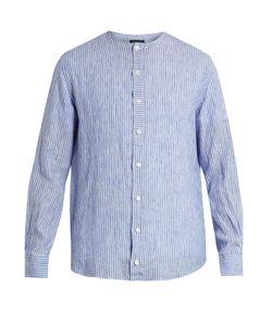 HELBERS | Long-Sleeved Collarless Linen Shirt