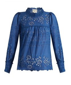 Sea | Pleated Broderie-Anglaise Cotton Top