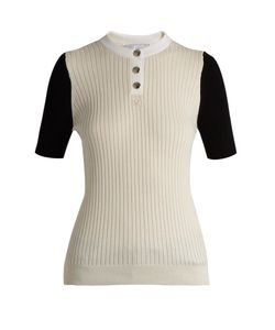 Courreges   Bi-Colour Cotton And Cashmere-Blend Top
