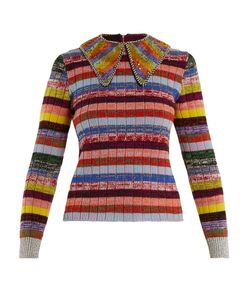 Gucci | Embellished-Collar Striped Wool-Blend Sweater