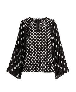 Andrew Gn   Polka-Dot Print Pleated-Sleeve Silk Top