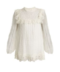 Zimmermann | Meridian Circle-Lace Silk Top