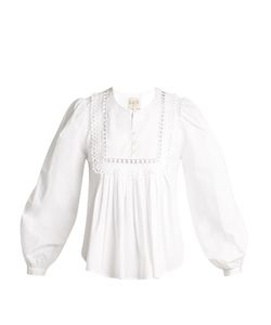 Sea | Everly Lace-Trimmed Pleated Cotton Blouse