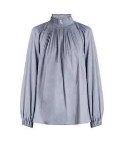 Tibi | Pleated-Collar Chambray Blouse