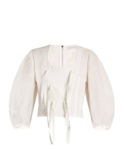 J.W. Anderson   Tie-Front Cotton And Linen-Blend Top