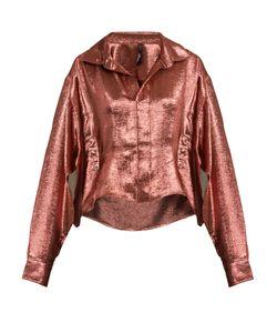 Paula Knorr | Big Long-Sleeved Silk-Blend Lamé Shirt
