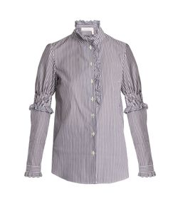 See By Chloe | Ruffle-Trimmed Striped Cotton Shirt