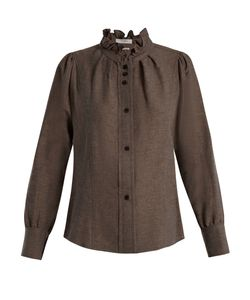 Isabel Marant Étoile | Melphine Ruffled-Collar Twill Blouse