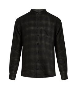 HELBERS | Band-Collar Double-Layer Voile Shirt