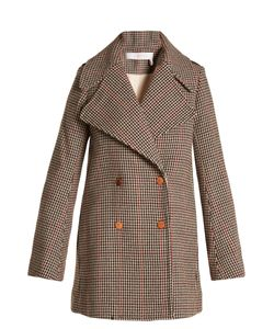 See By Chloe | Double-Breasted Hounds-Tooth Wool-Blend Coat