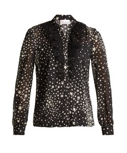 Red Valentino | Ruffled-Tulle Star-Print Stretch-Silk Blouse