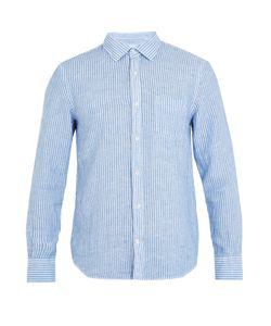 120% Lino | Striped Point-Collar Linen Shirt