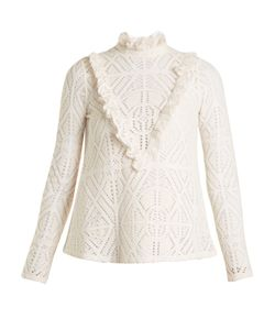 See By Chloe | High-Neck Crochet-Effect Blouse