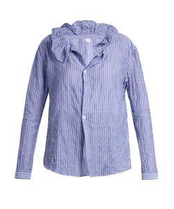 Y'S BY YOHJI YAMAMOTO   Ruffled-Collar Striped Poplin Shirt