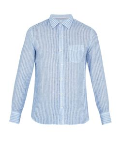 120% Lino | Point-Collar Pinstriped Linen Shirt