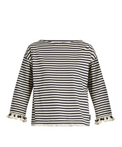 Moncler | Pompom-Embellished Striped Cotton Top